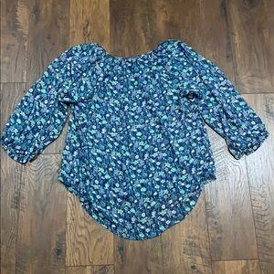 LC Lauren Conrad Tops - Lauren Conrad blue floral shear blouse